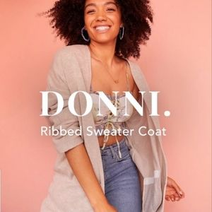 Donni oat ribbed cardigan sweater coat top OS